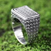 Men's sterling silver ring, 'Waterfall' - Men's Handmade Sterling Silver Signet Ring from Indonesia