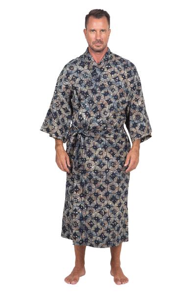 Men's cotton batik robe, 'Midnight Fireworks' - Men's Batik Cotton Robe