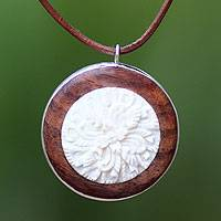 Wood pendant necklace, 'Harmonious Brown Poppy'