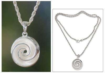 Sterling silver pendant necklace, 'Silver Nautilus' - Artisan Crafted Sterling Silver Pendant Necklace
