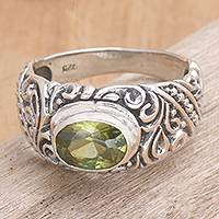 Peridot solitaire ring, 'Java Legacy' - Hand Made Peridot and Sterling Silver Ring