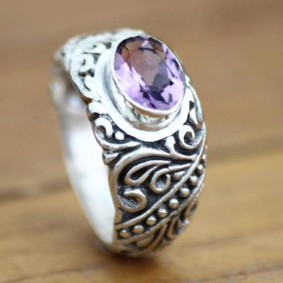 Amethyst solitaire ring, 'Java Legacy' - Sterling Silver and Amethyst Ring