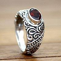 Garnet solitaire ring, 'Java Legacy'