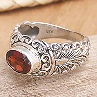 Garnet solitaire ring, 'Bali Heritage' - Hand Crafted Sterling Silver and Garnet Ring
