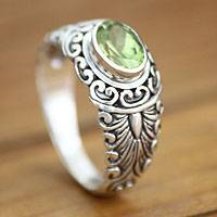 Peridot solitaire ring, 'Bali Heritage' - Peridot and Sterling Silver Ring