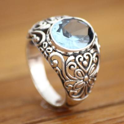 Blue topaz solitaire ring, 'Mythical Oasis' - Handmade Sterling Silver and Blue Topaz Cocktail Ring
