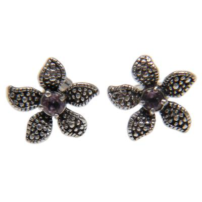 Indonesian Floral Silver and Amethyst Earrings