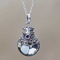 Amethyst pendant necklace, 'Arak Mystery' - Amethyst pendant necklace