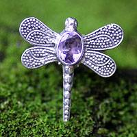 Amethyst cocktail ring, 'Gossamer Dragonfly' - Amethyst cocktail ring