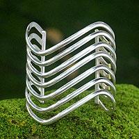 Sterling silver cuff bracelet, 'Wakatobi Surf' - Handcrafted Sterling Silver Cuff Bracelet