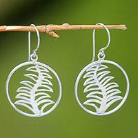 Sterling silver floral earrings, 'Dancing Ferns'