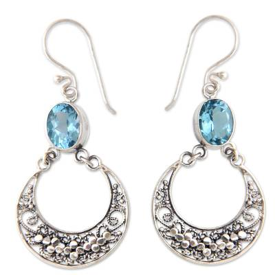Unique Sterling Silver and Blue Topaz Dangle Earrings