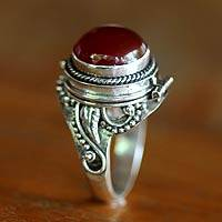 Carnelian cocktail ring, 'Bali Secrets' - Carnelian cocktail ring