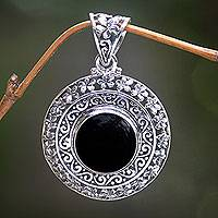 Onyx flower pendant, 'Frangipani Secrets' - Sterling Silver and Onyx Floral Medallion Pendant from Bali