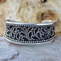 Sterling silver cuff bracelet, 'Island Fern Tree'