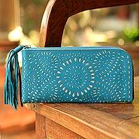 Leather wallet, 'Aqua Green Sunflower' - Handmade Aqua Green Leather Wallet from Indonesia