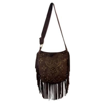 Suede shoulder bag, 'Java Stars' - Handmade Fringed Leather Shoulder Bag from Bali