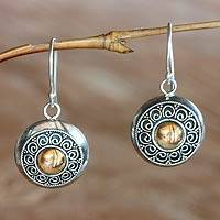 Gold accent flower earrings, 'Golden Sunflowers' - Artisan Crafted Gold Accent and Silver Earrings