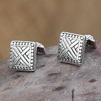 Men's sterling silver cufflinks, 'Ancient Fortress' - Men's Sterling Silver Cufflinks
