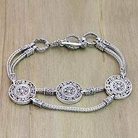 Sterling silver bracelet, 'Coins of the Kingdom' (large) - Sterling Silver Chain Bracelet (Large)