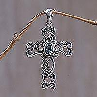 Blue topaz cross pendant, 'Balinese Cross' - Fair Trade Sterling Silver and Blue Topaz Pendant