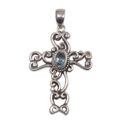 Fair Trade Sterling Silver and Blue Topaz Pendant