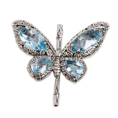 Sterling Silver and Blue Topaz Pendant from Indonesia