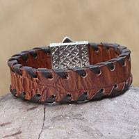 Men's sterling silver and leather wristband bracelet, 'Weaver' - Men's Brown Leather Wristband Bracelet