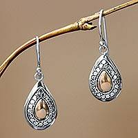 Gold plated dangle earrings, 'April Sun'
