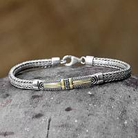Gold accented bracelet, 'Balinese Wonder' - Handmade Sterling Silver Pendant Bracelet with Gold Accents
