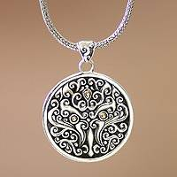 Men's gold accent pendant necklace, 'Tree of Trunyan' - Men's gold accent pendant necklace