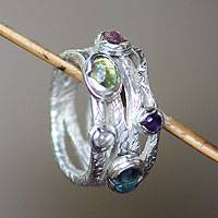 Pink tourmaline and blue topaz band ring, 'Free Spirit' - Modern Sterling Silver and Multigem Ring