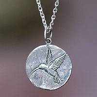 Sterling silver pendant necklace, 'Hummingbird Magic'