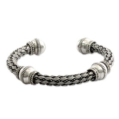 Handmade Balinese Woven Chunky Sterling Silver Cuff Bracelet