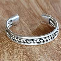 Sterling silver cuff bracelet, Strength of Celuk