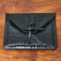 Leather tablet sleeve case, 'Kintamani Nocturnal' - Unique Leather Tablet Case from Indonesia