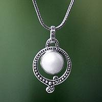 Pearl pendant necklace, 'Angel Halo'