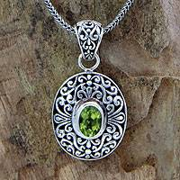 Peridot pendant necklace, 'Wild Beauty' - Handcrafted Sterling Silver and Peridot Necklace