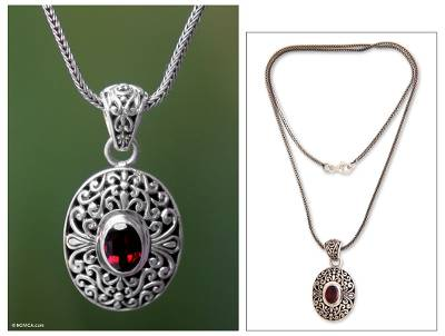 Garnet pendant necklace, 'Scarlet Beauty' - Unique Sterling Silver and Garnet Pendant Necklace