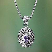Amethyst pendant necklace, 'Violet Beauty' - Amethyst pendant necklace