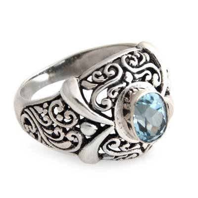 Hand Made Sterling Silver and Blue Topaz Ring