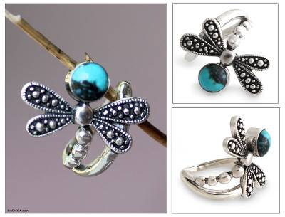 amazon silver and gold necklaces - Reconstituted Turquoise and Silver Dragonfly Ring