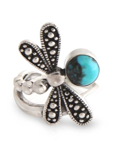 Reconstituted Turquoise and Silver Dragonfly Ring