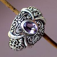 Amethyst cocktail ring, 'Heavenly Garden' - Amethyst cocktail ring