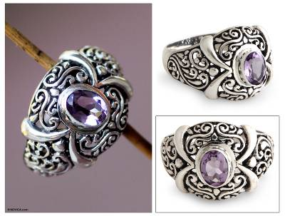 silver ring aggie job link - Amethyst cocktail ring