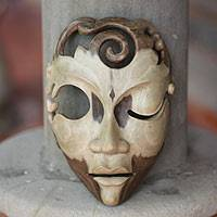 Wood mask, 'Wink at Me' - Modern Wood Mask