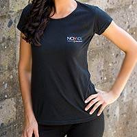 Cotton t-shirt, 'Mission Novica in Black' - Cotton Logo Tee Shirt