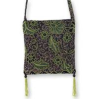 Beaded cotton batik shoulder bag, 'Midnight Java' - Handmade Batik Beaded Shoulder Bag