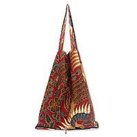 Cotton batik foldable tote bag, 'Surakarta Legacy' - Handcrafted Batik Cotton Shopping Tote Bag