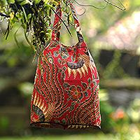 Cotton batik foldable tote bag, 'Surakarta Legacy'